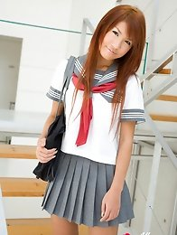 Mai Hoshino Asian in school uniform shows ass under short skirt