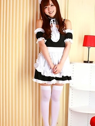 Yu Asakura takes kinky maid uniform off revealing curves